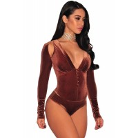 Brown Velvet Faux Corset Long Sleeve Bodysuit Light pink