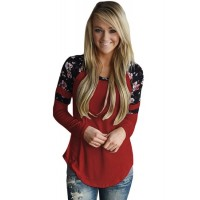 Burgundy Floral Varsity Stripe Long Sleeve Top Brown Purple Black White