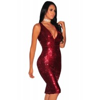 Burgundy Liquid Sequins Cutout Back Club Dress Rose Gold