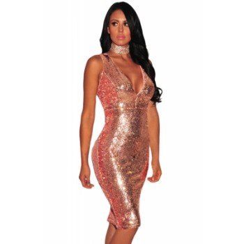 Burgundy Liquid Sequins Cutout Back Club Dress Rose Gold