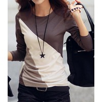 Casual Round Collar Long Sleeve Spliced Color Block T-shirt For Women coffee black