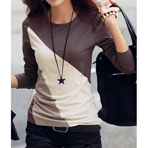 Casual Round Collar Long Sleeve Spliced Color Block T