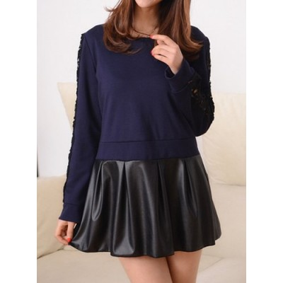 Casual Round Neck Long Sleeve Spliced Hollow Out Dress For Women blue black