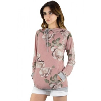Charcoal Coral Floral Drawstring Hoodie Pink Yellow Cream Floral