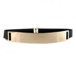 Chic Metal Buckle Elastic Waist Belt For Women black