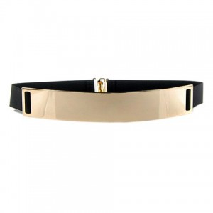 Chic Metal Buckle Elastic Waist Belt For Women black