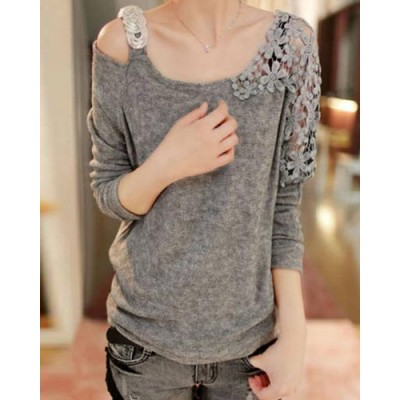 Color Block Long Sleeve One-Shoulder Floral Print Hollow Out Design Pullover Knitwear For Women gray black pink