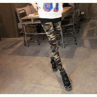 Color Block Modern Style Slimming Camouflage Pattern Leggings For Women cameo
