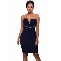 Contrast String Around Navy Bodycon Party Dress