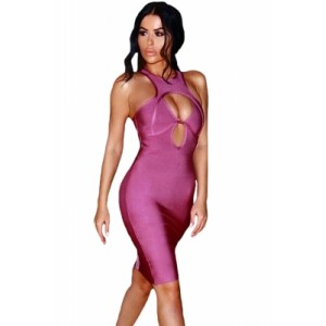 Cut out Bust Racer Back Bandage Dress Orchid Wine