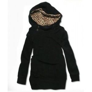 Cute Women's Solid Color Long Sleeve Loose-Fitting Leopard Print Hoodie black white
