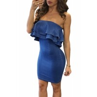 Denim Blue Double Ruffle Strapless Mini Dress