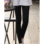 Elastic Waist Solid Color Narrow Feet Slimming Nine Points Leggings For Women black gray white