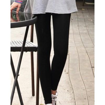 Elastic Waist Solid Color Narrow Feet Slimming Nine Points Leggings For Women black gray white