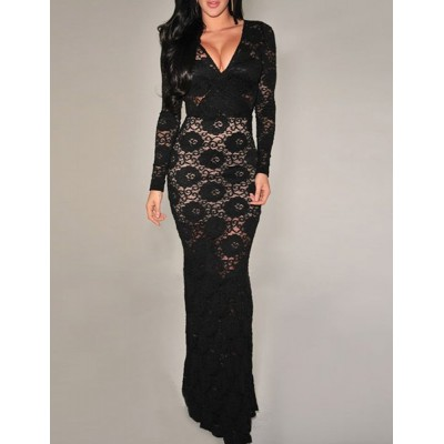 Elegant Women's Plunging Neckline Long Sleeve Dress black