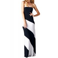 Fashionable Women's Strapless Color Block Dress black green blue