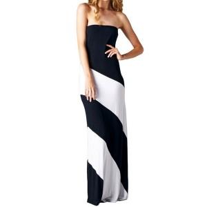 Fashionable Women's Strapless Color Block Dress black green blue
