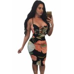 Floral Spaghetti Strap Crisscross Front Bodycon Midi Dress