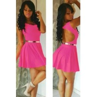 Glowing Pink Slash Scoop out Skater Dress