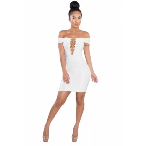 Gold Chain Crisscross Lace up White Bandage Dress