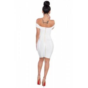 Gold Chain Crisscross Lace up White Bandage Dress