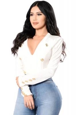 Gold Sailor Button Detail White Velvet Bodysuit
