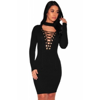 Gray Lace-up Bust Ribbed Dress Black