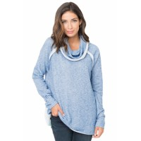 Gray Raw Edge Cowl Neck Pullover Sweatshirt Pink Purple Light Blue