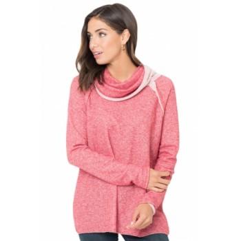 Gray Raw Edge Cowl Neck Pullover Sweatshirt Pink Purple Light Blue