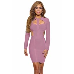 Grey Long Sleeve Cutout Bodice Party Bandage Dress Pink