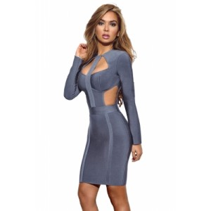 Grey Long Sleeve Cutout Bodice Party Bandage Dress Pink