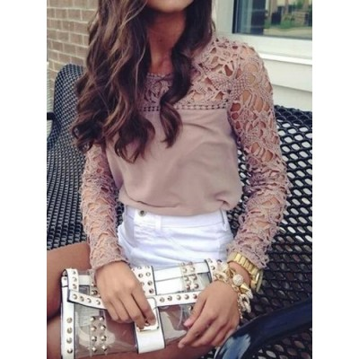 Hollow Out Design Long Sleeve Round Collar Pullover Blouse For Women