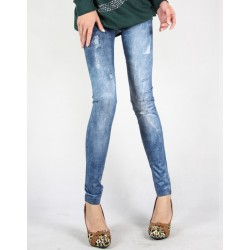 Jegging Pattern Destroyed Distressed Cotton Solid Color Legging For Women blue black