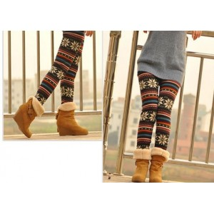 Knitted Colorful Crystal Pattern Leggings Tights Pants