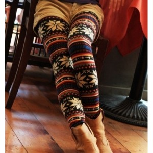 Korea Fashion Stylish Snowflake Patterens Colorful Stripes Leggings