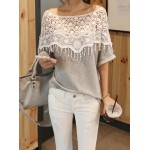 Lace Cutout Shirt Women Handmade Crochet Cape Collar Batwing Sleeve T-shirt gray