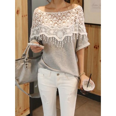 Lace Cutout Shirt Women Handmade Crochet Cape Collar Batwing Sleeve T-shirt gray