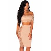 Lace off Shoulder Crop Top Skirt Set