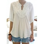 Lace Splicing Crochet Flower 1/2 Sleeve Casual Blouse For Women white