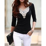 Lacework Splicing Fashionable V-Neck Long Sleeve Women's T-Shirt black white