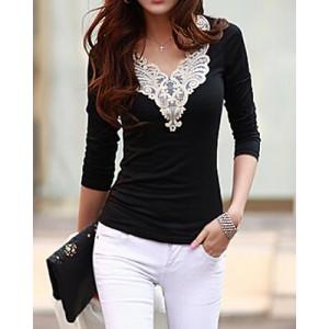 Lacework Splicing Fashionable V-Neck Long Sleeve Women's T-Shirt black white