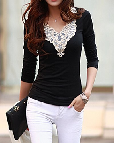 Lacework Splicing Fashionable V Neck Long Sleeve Women S T