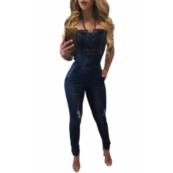 Light Blue Lace Up Front Halter Denim Jumpsuit Deep Blue