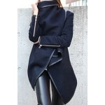Long Sleeves Solid Color Asymmetric Stylish Wool Coat For Women blue