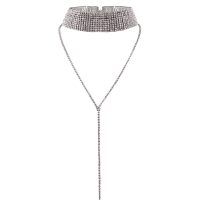 Long Wide Rhinestone Choker Necklace