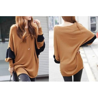 Loose-Fitting Style Bat-Wing Sleeves Scoop Neck Color Block T-shirt For Women brown