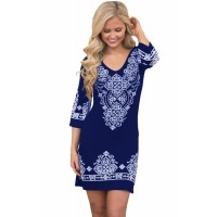 Navy Blue Tribal Pattern Short Dress