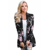 Navy Floral Print Lightweight Cardigan Gray Black