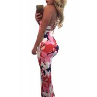 Orangish Multi-color Floral Print Crisscross Back Maxi Dress Pink