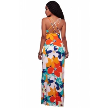 Orangish Multi-color Floral Print Crisscross Back Maxi Dress Pink